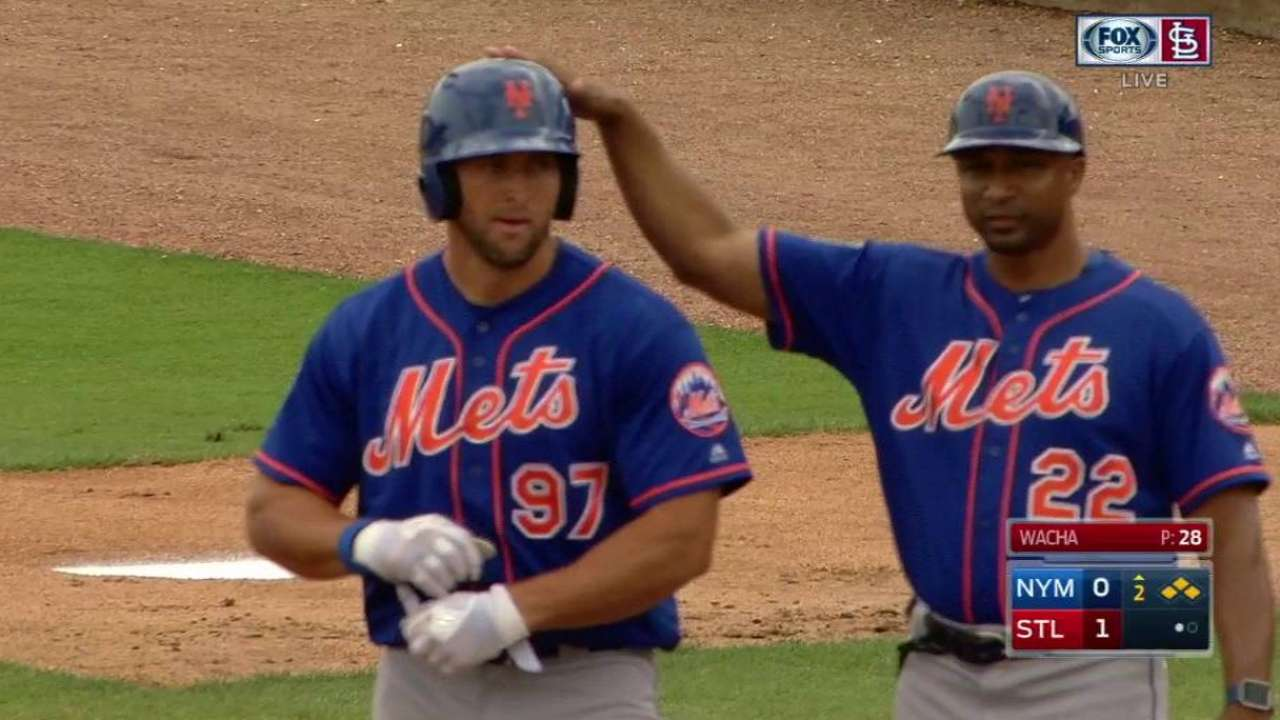 Tebow gets on base with a single