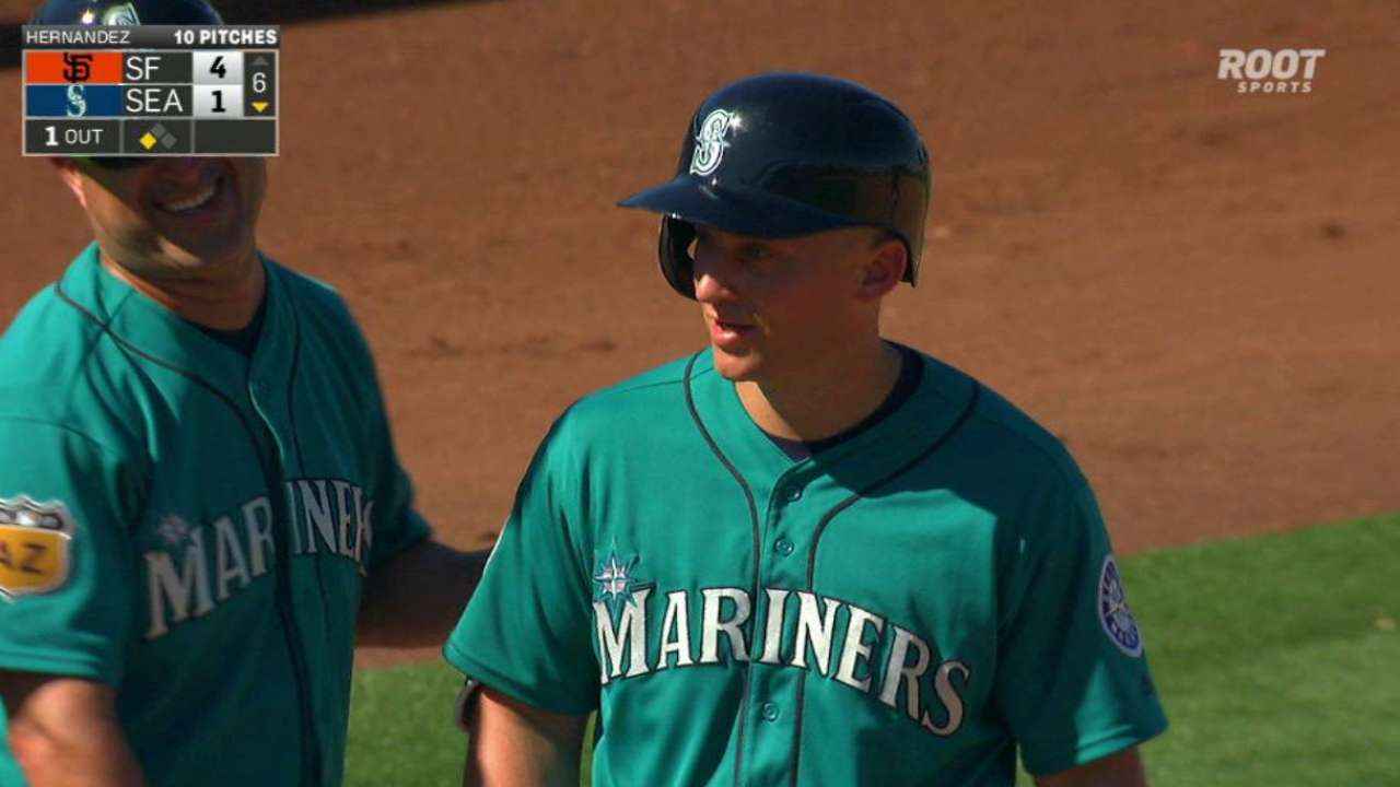 Seager's RBI triple off the wall