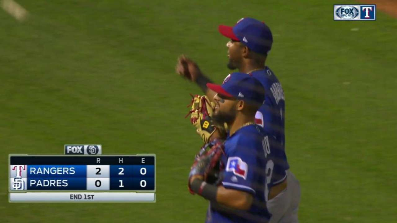 Pitching shines early in Rangers' walk-off loss