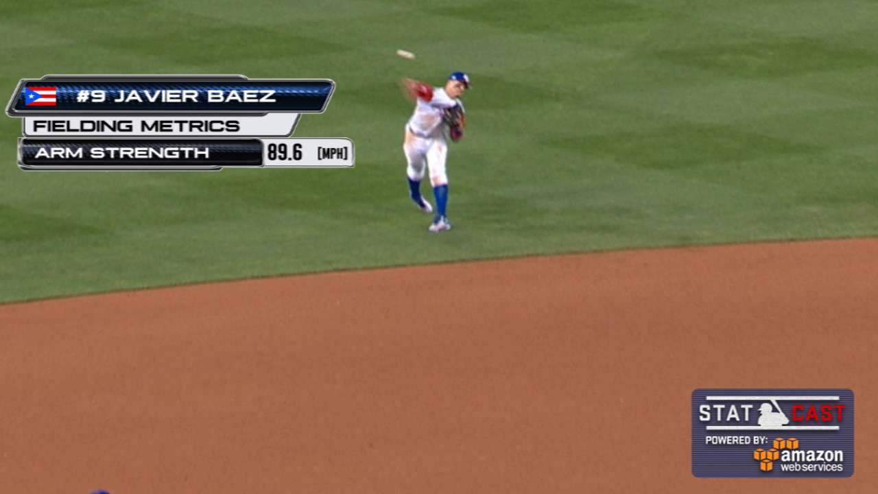 Statcast: Baez throws out Schoop