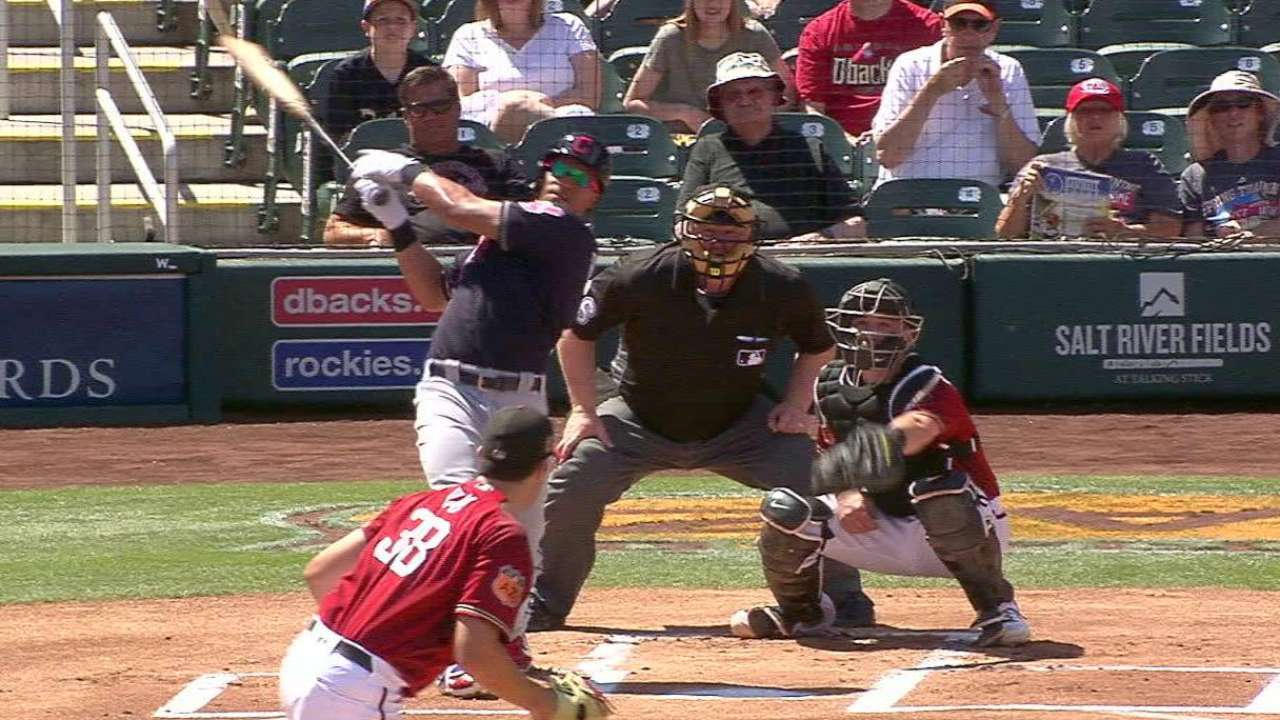 Brantley feeling good, hits first spring homer
