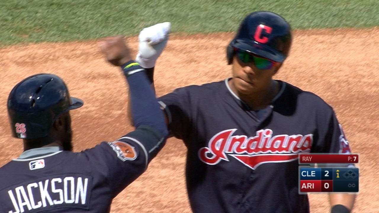 Brantley on his first homer