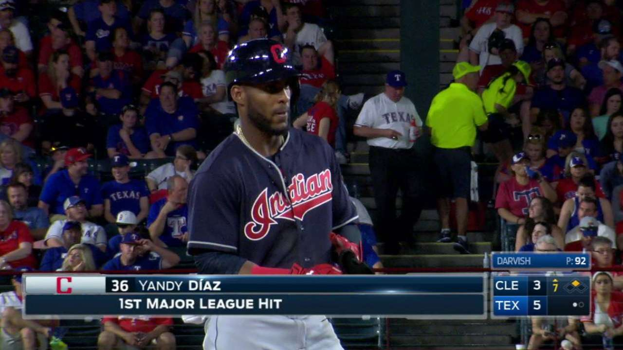 Diaz doubles for first ML hit