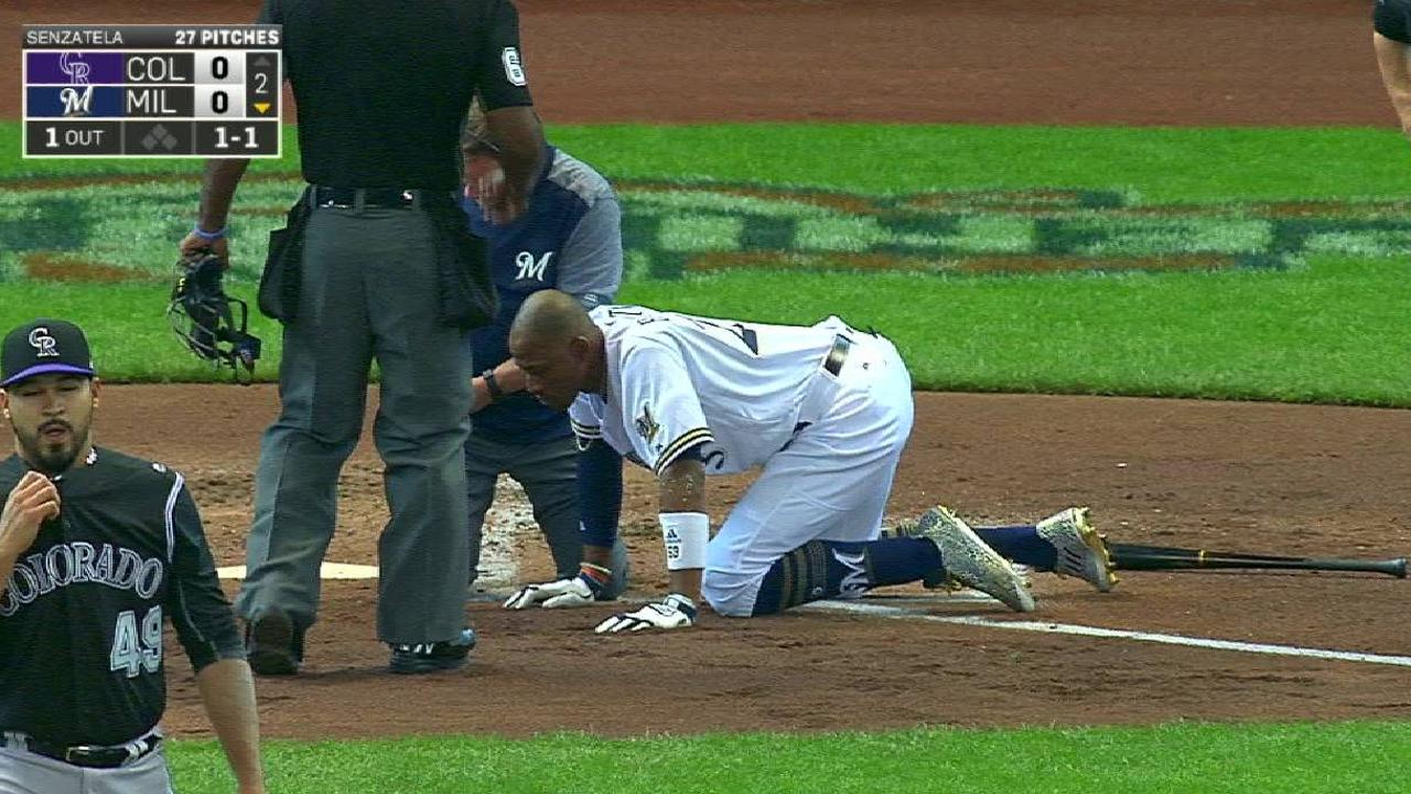 Broxton hit in the face by pitch