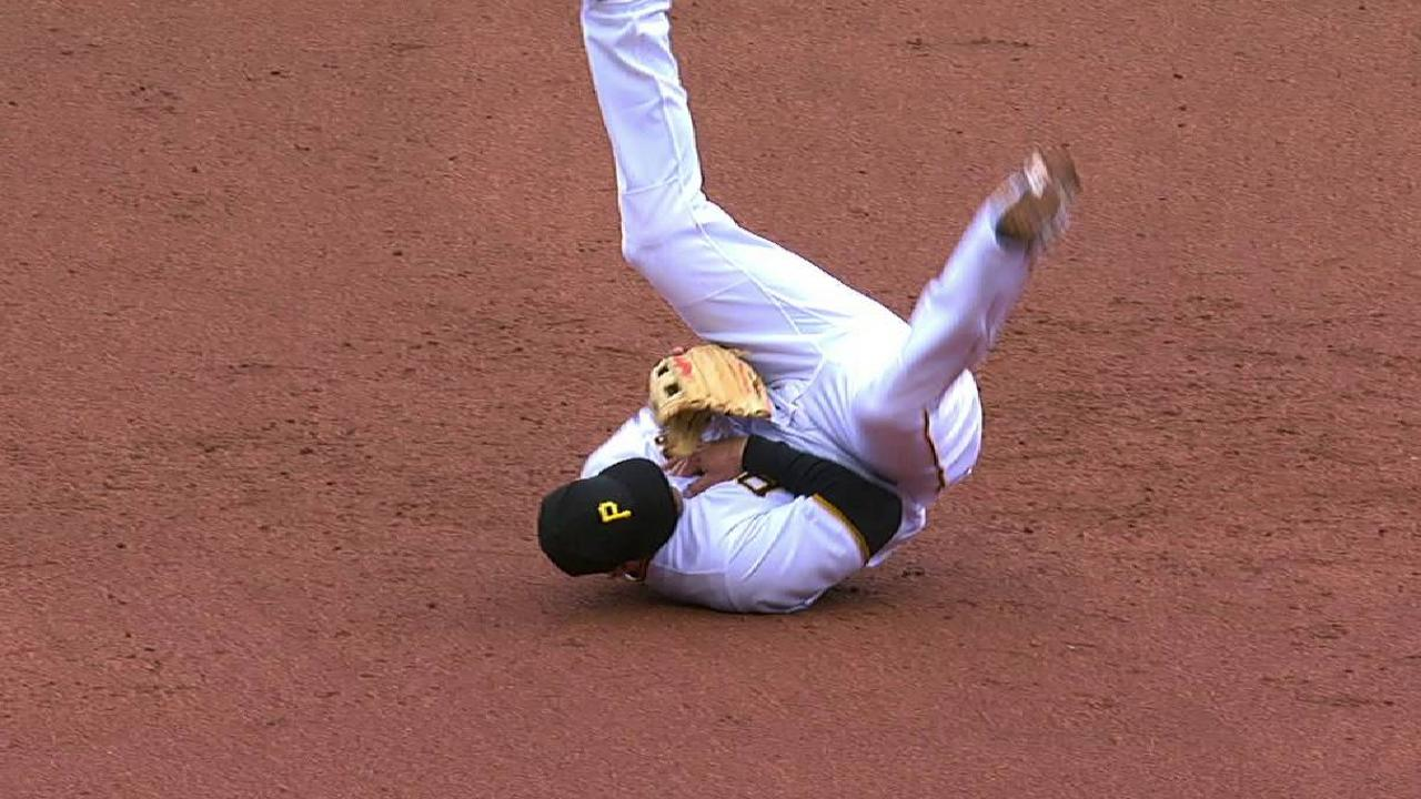 Freese drilled by hard grounder