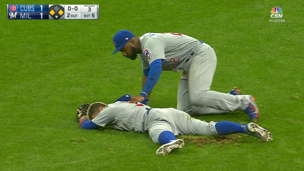 Baez returns 1 day after scary collision
