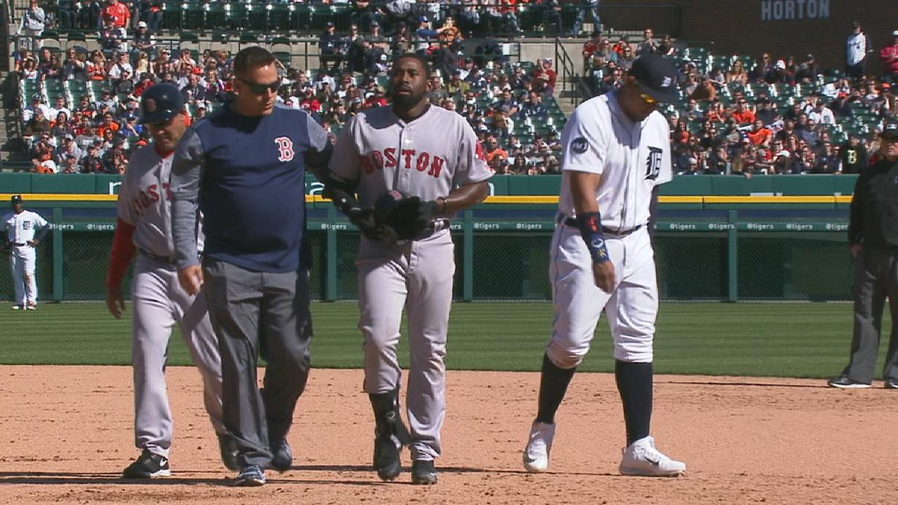 Bradley Jr. injured on flyout