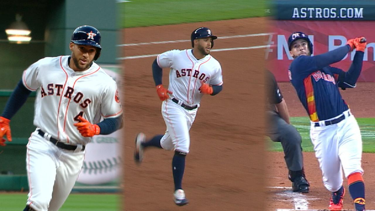 Springer makes history with 3rd leadoff blast