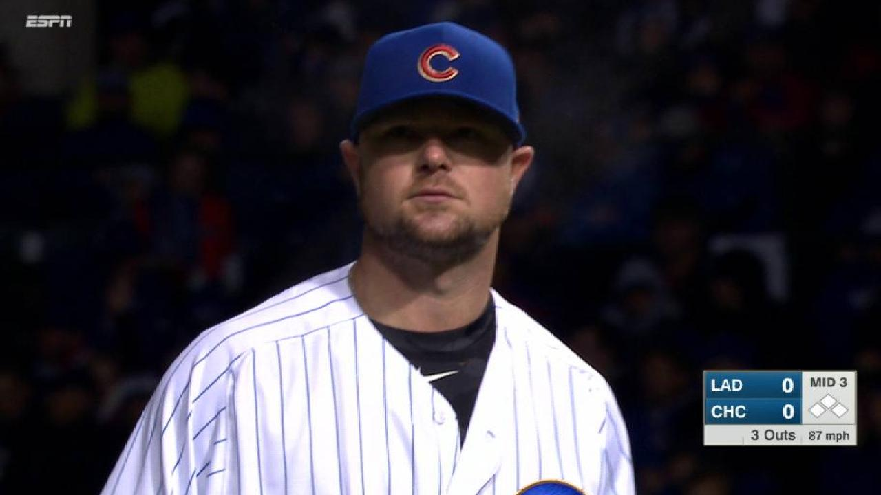 Lester strikes out the side