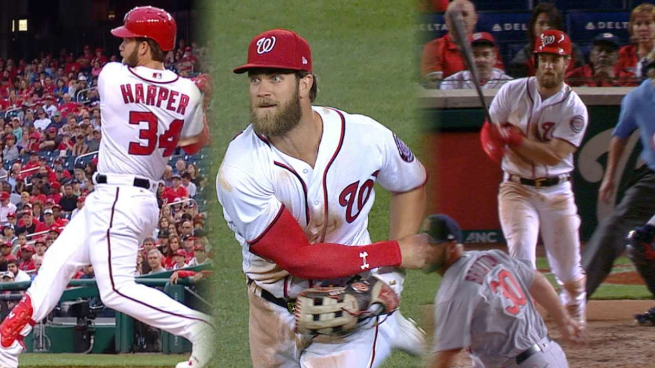 Harper shines at plate, in field