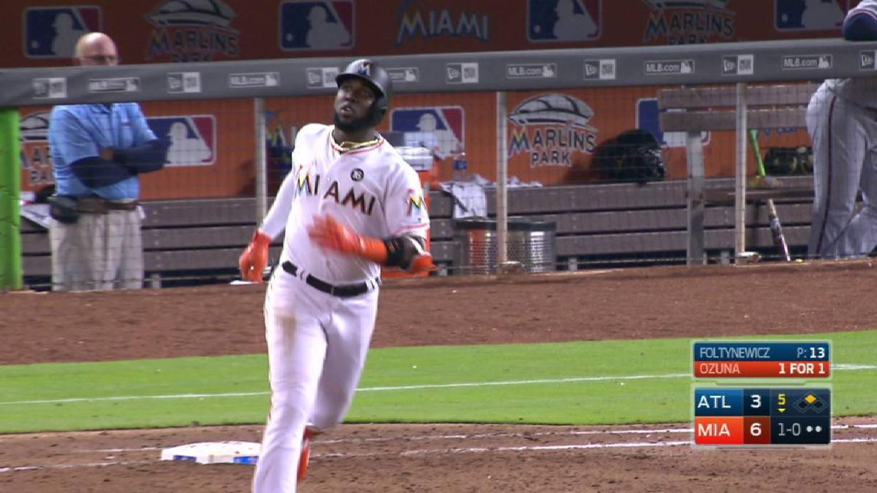 Ozuna, Marlins get to Colon, hold off Braves