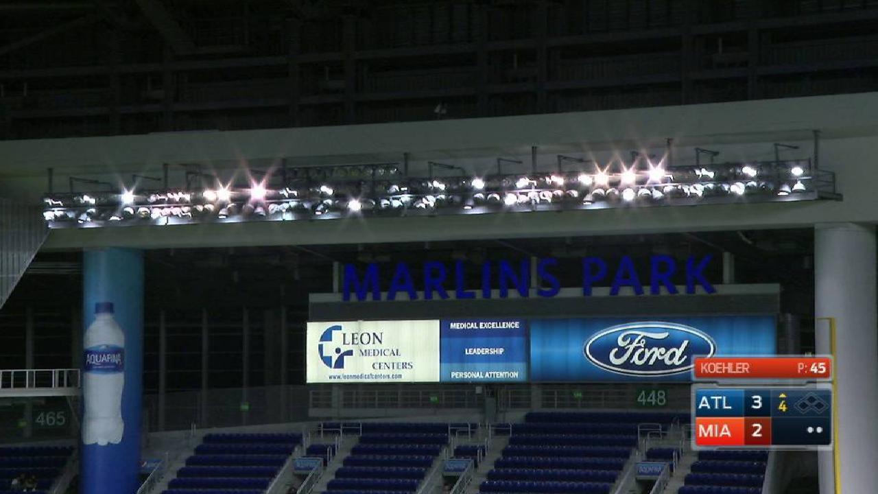 Power surge delays Braves-Marlins in Miami