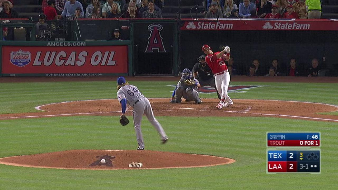 Trout's solo homer to center