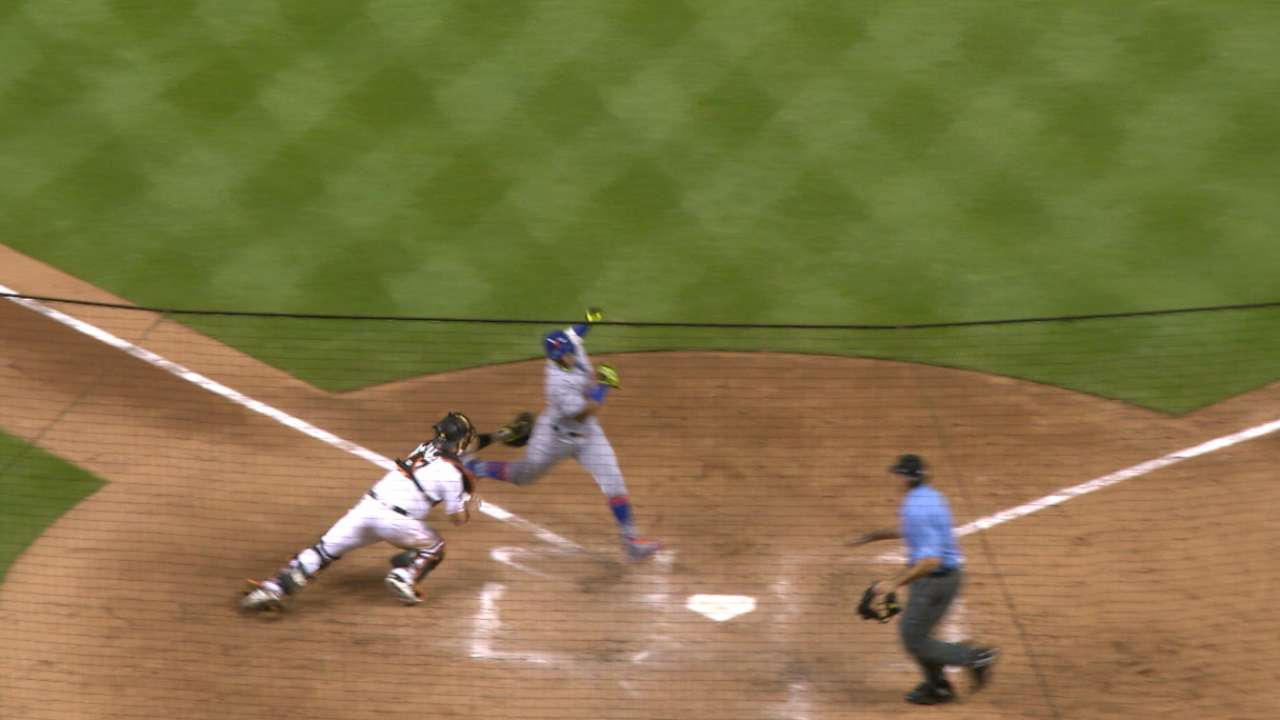 Ozuna nabs Cespedes at the dish