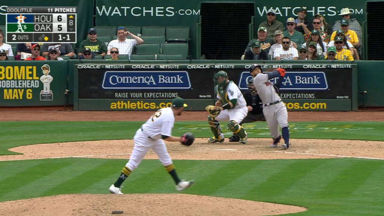 Astros rally past A's for fourth straight win