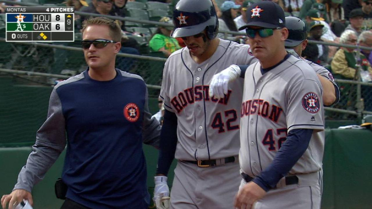 Correa leaves after HBP on hand
