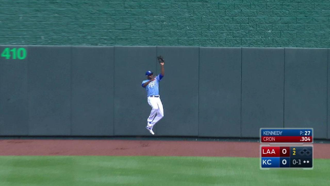 Cain's great catch at the wall