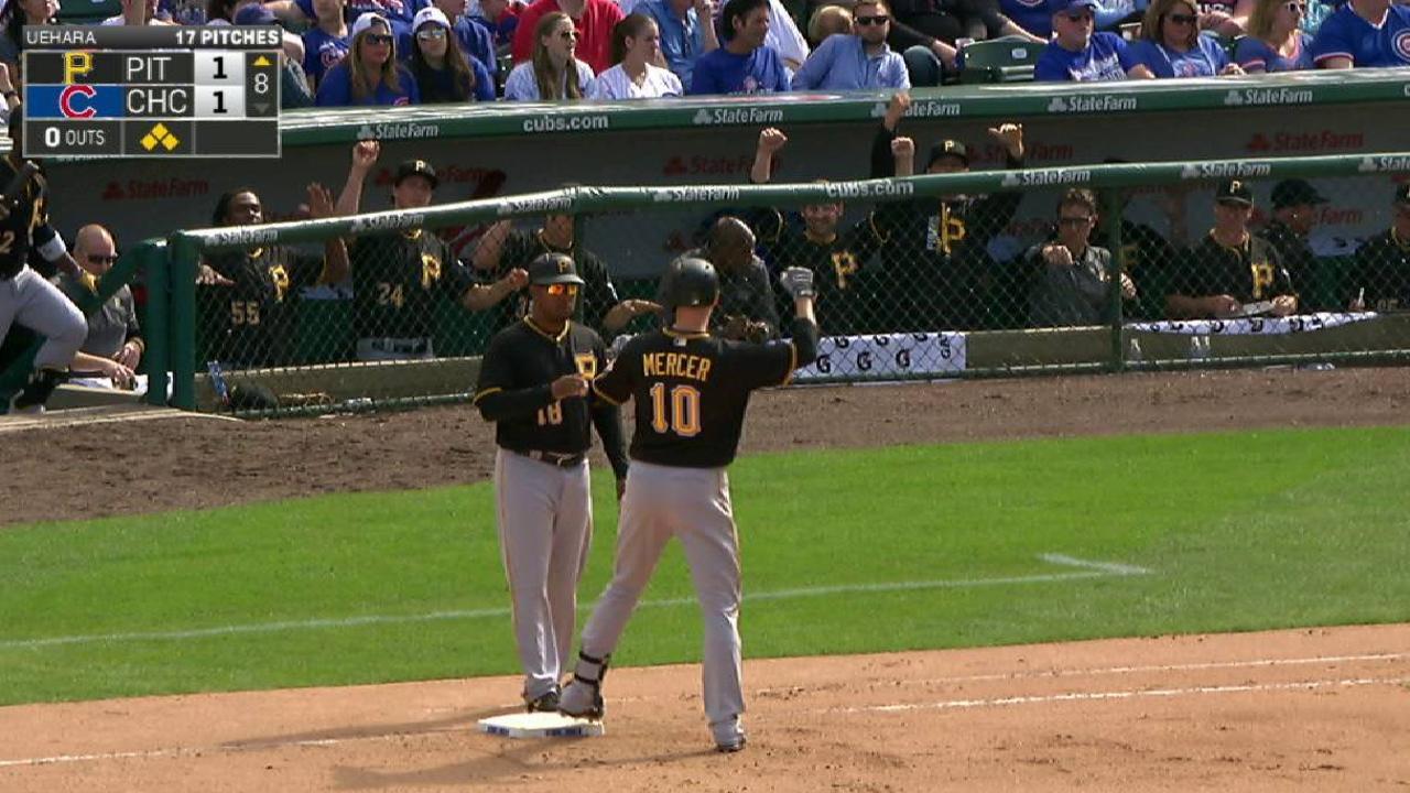 Mercer's game-tying RBI single