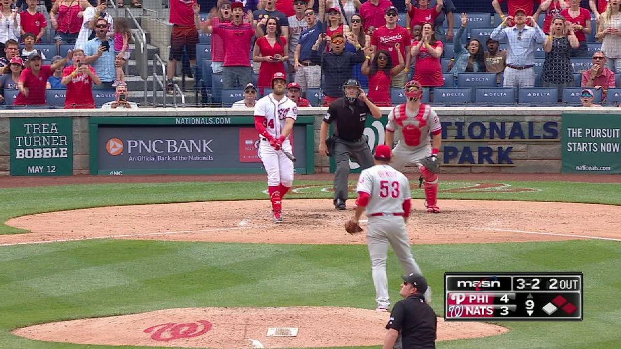 Harper's second homer a walk-off vs. Phillies