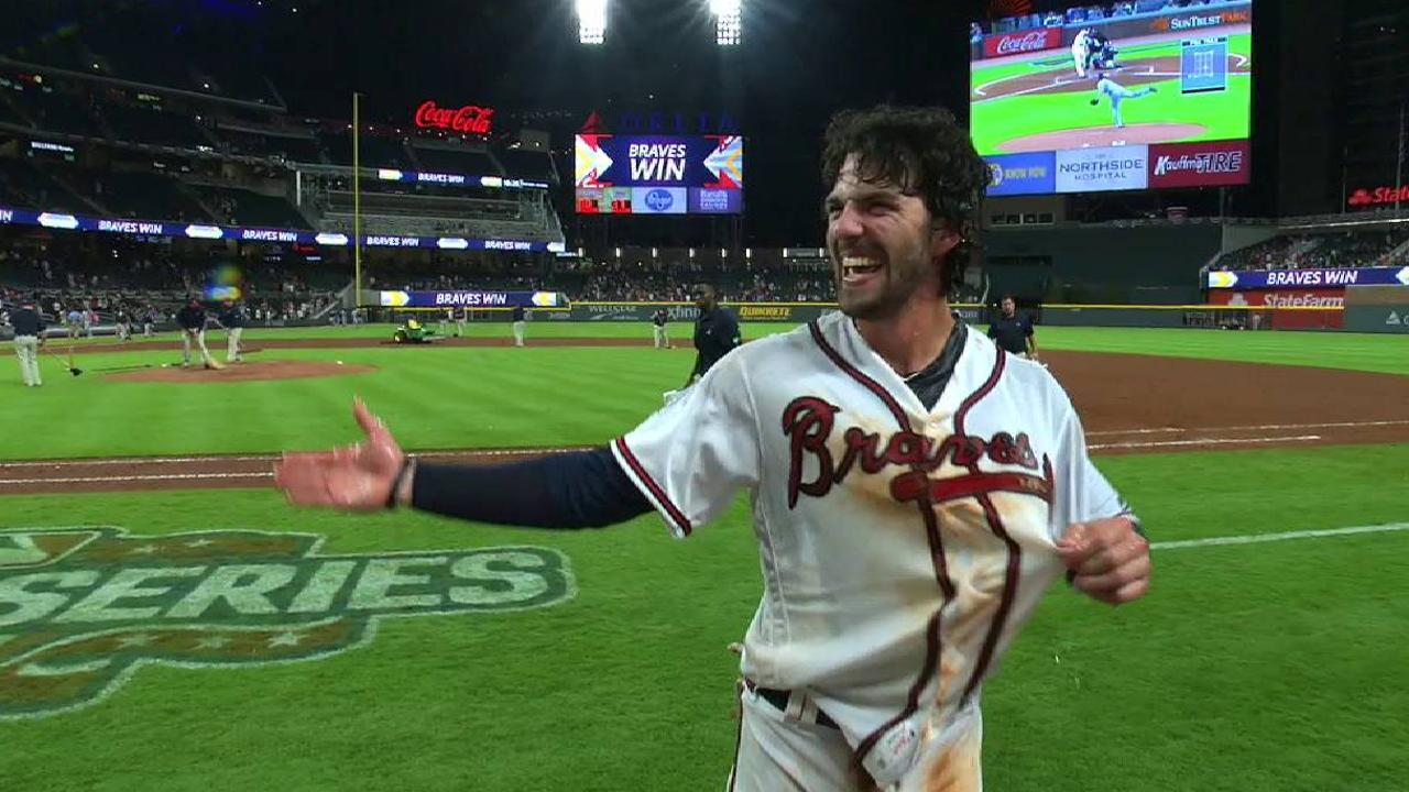 Swanson on his walk-off hit