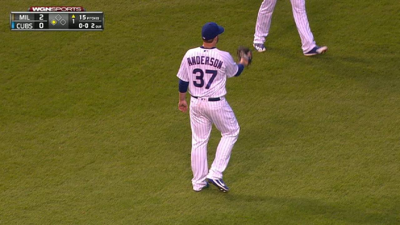 Anderson recovers on comebacker
