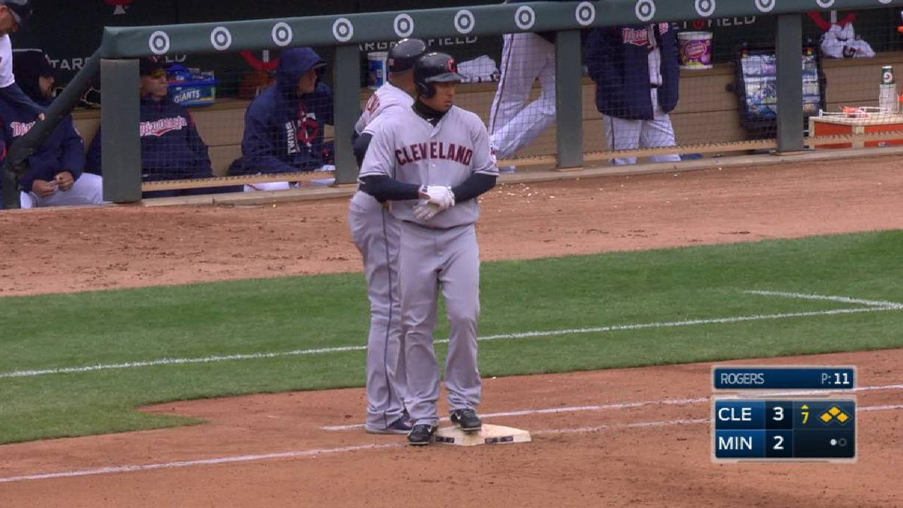 Brantley walks, Tribe takes lead