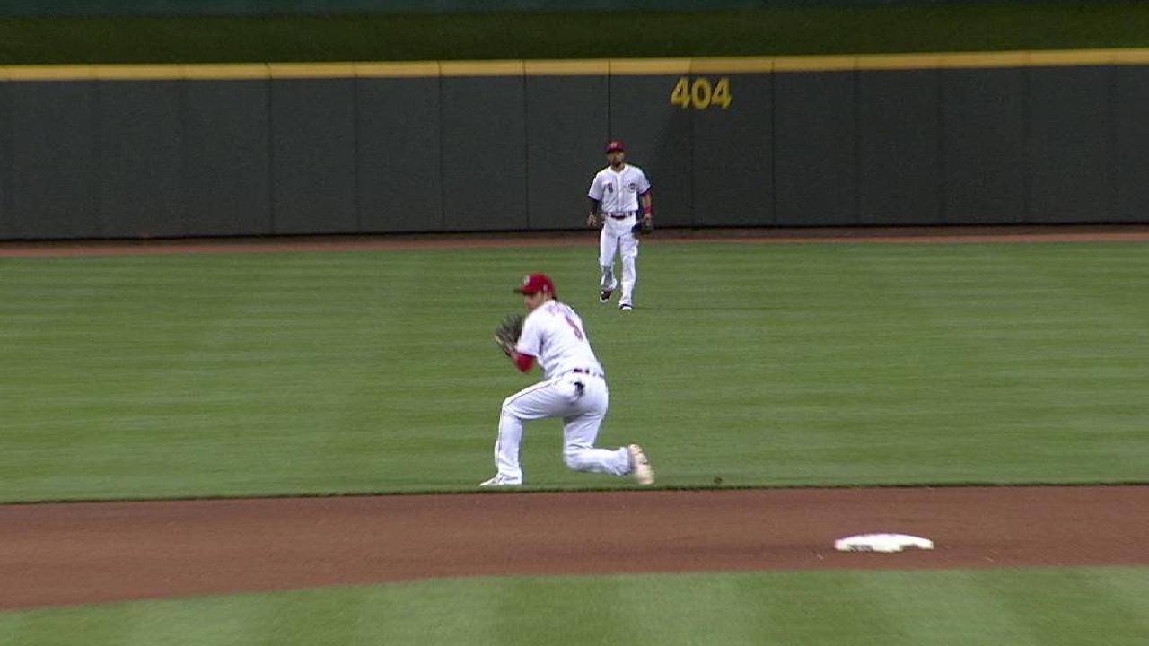 Peraza's diving stop, throw