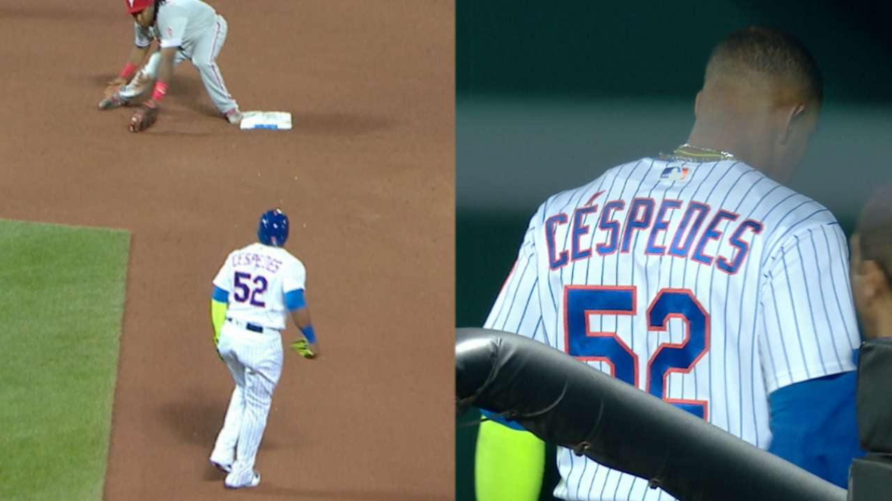 Cespedes leaves game with injury