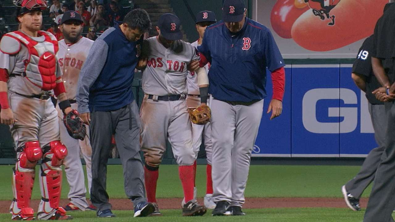 Pedroia leaves after collision