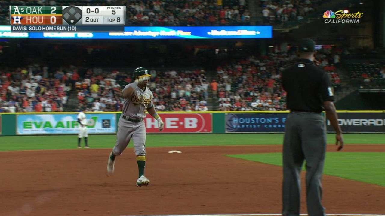 Khris Davis jonronea y ayuda a Triggs a imponerse a los Astros