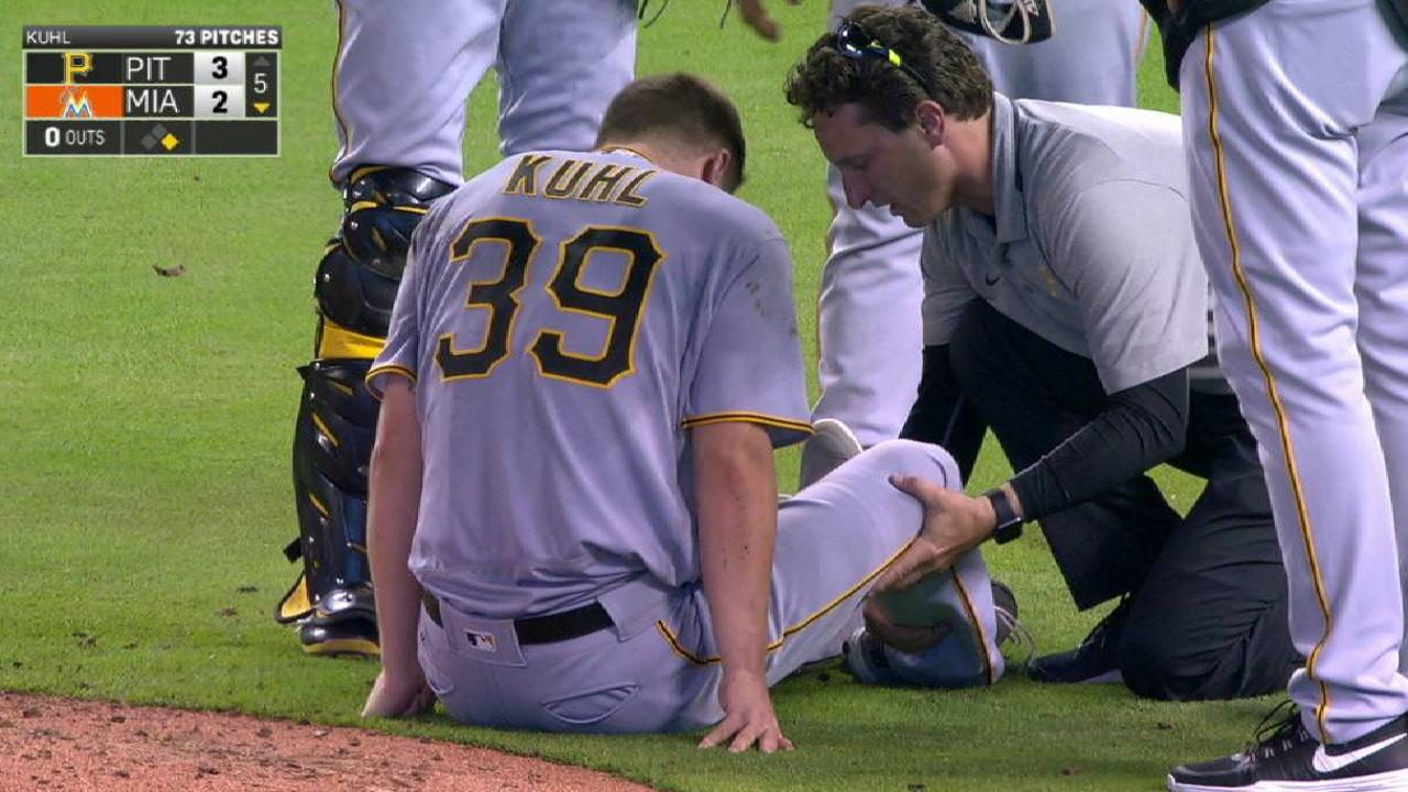 Kuhl leaves game with injury