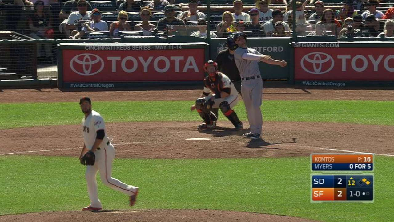 Myers' go-ahead homer in 12th