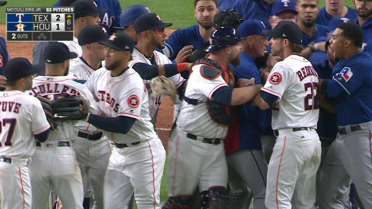 Tras conato de riña en la 6ta, Astros doblegaron a los Rangers
