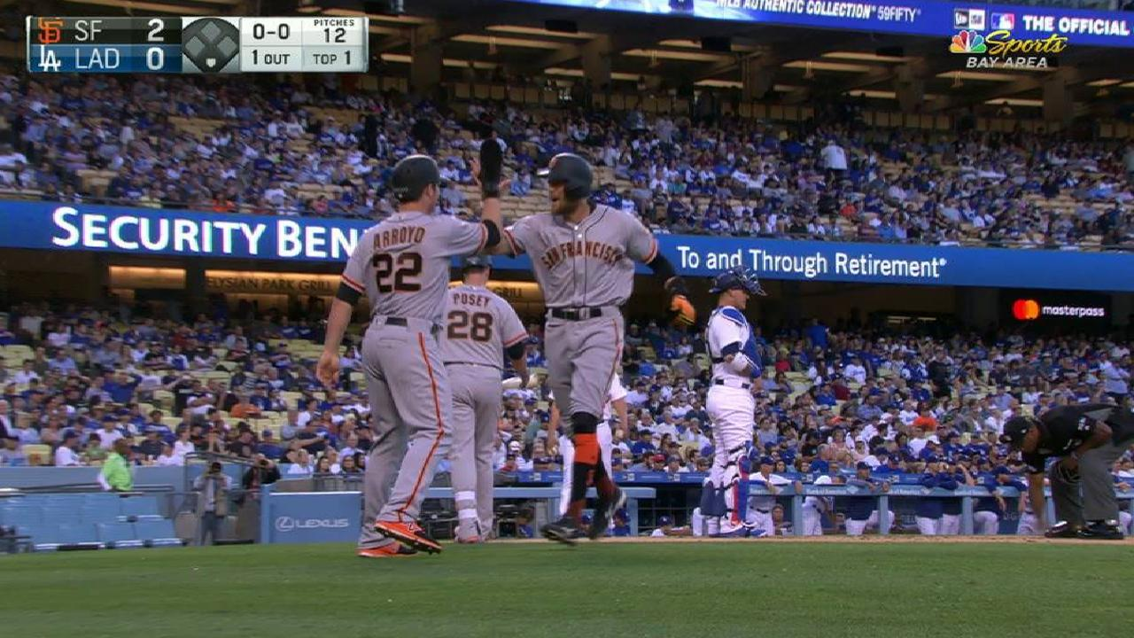 Giants beat Kershaw behind two homers