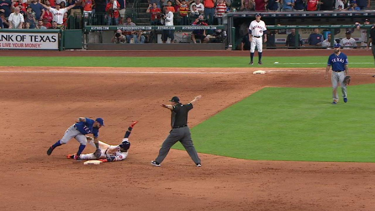 Gurriel is ruled safe at second