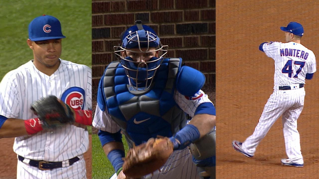 Schwarber gets a turn behind the dish