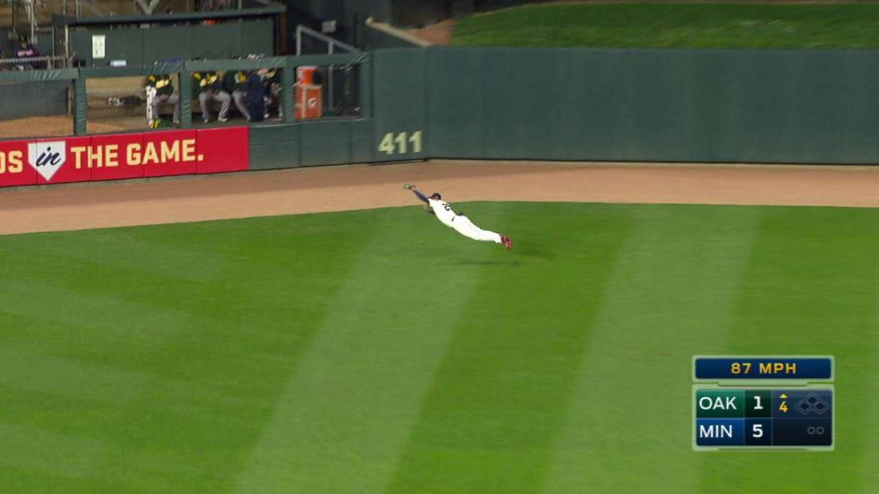 Buxton's diving catch
