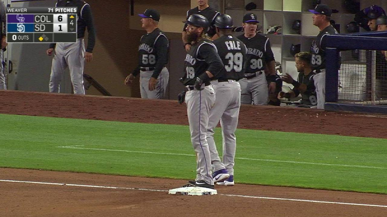 Two Rockies score on errors
