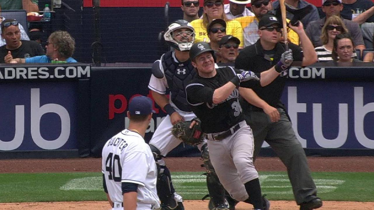Hanigan homers in debut as Rockies win in 11