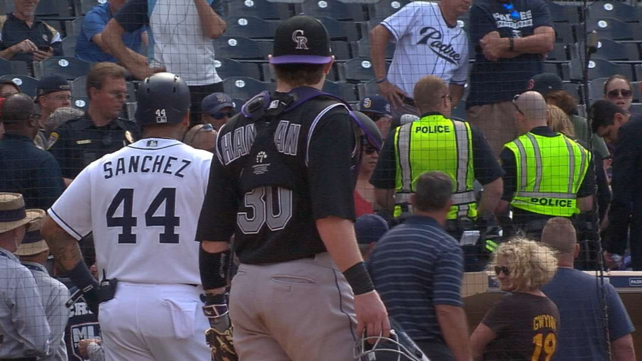 Game delayed after fan is hit by bat