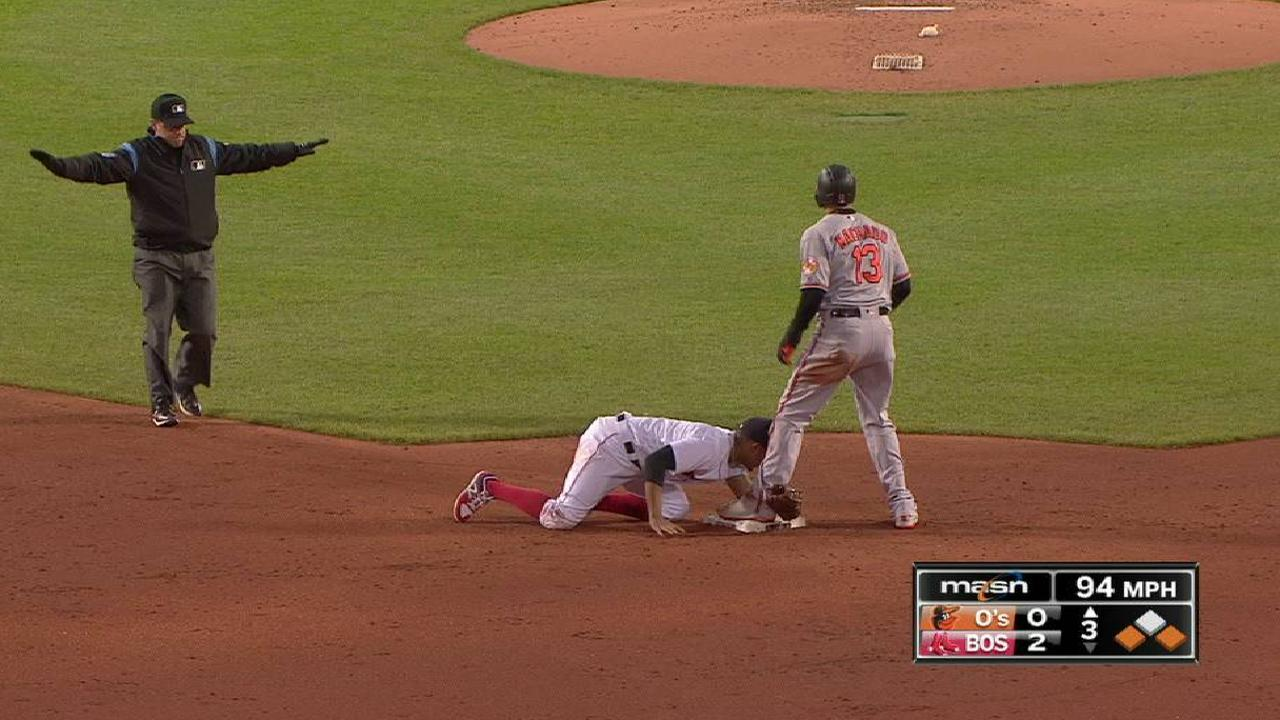 Orioles score on double steal