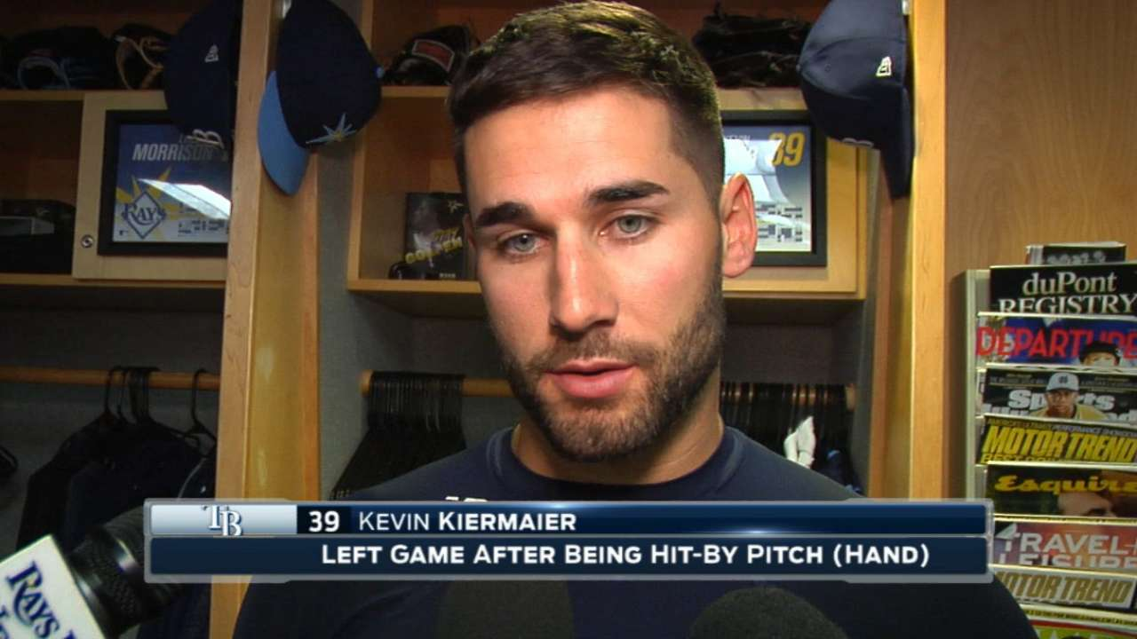 Kiermaier angry after HBP; X-rays negative
