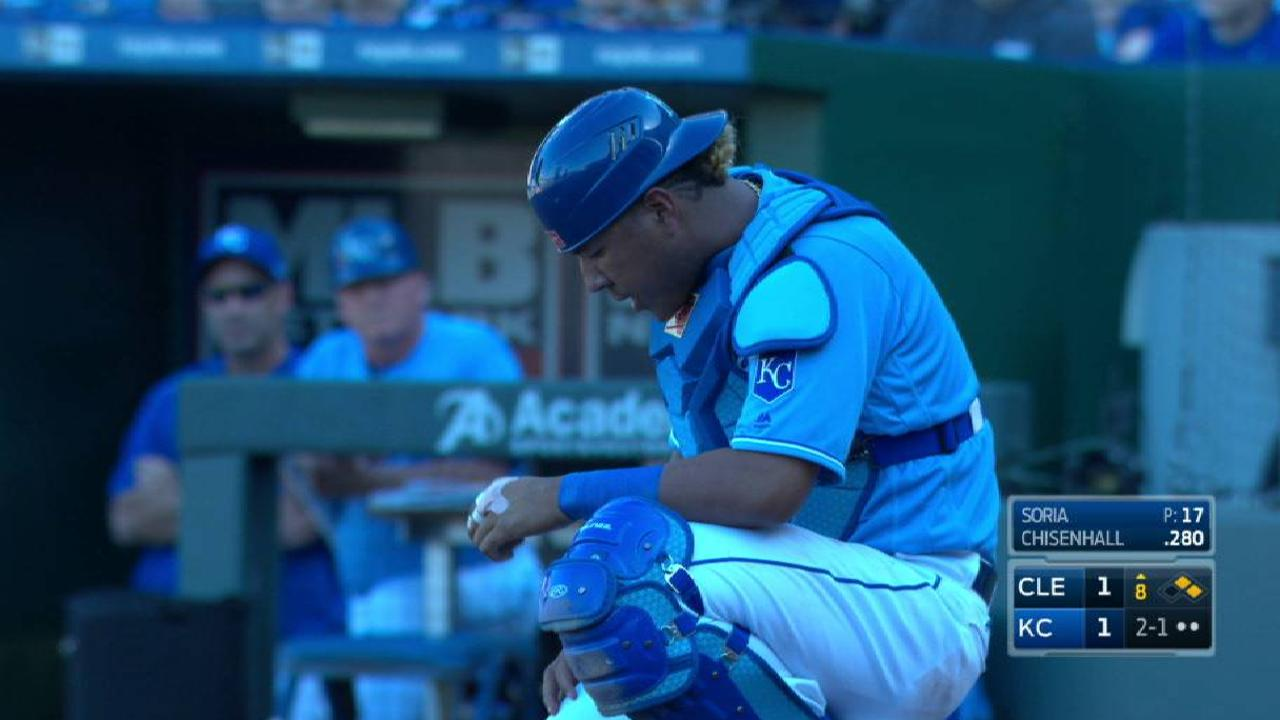 Salvy sustains bruised forearm on foul tip