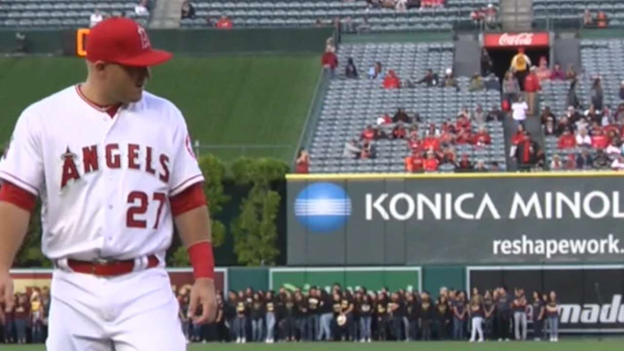 Trout sits again due to hamstring tightness