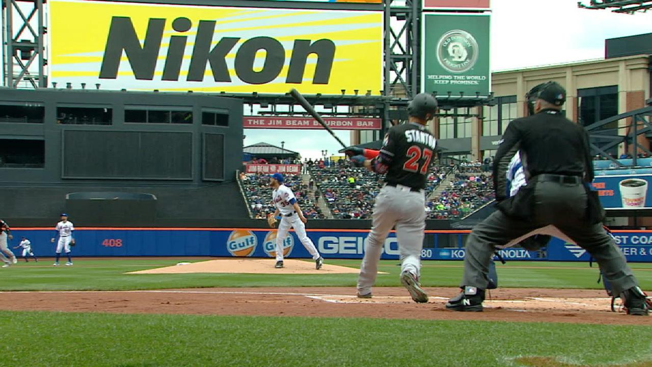 Stanton's 2 HRs help Marlins thump Mets