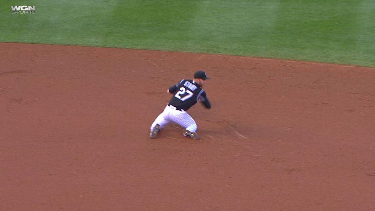 Russell reaches base on error