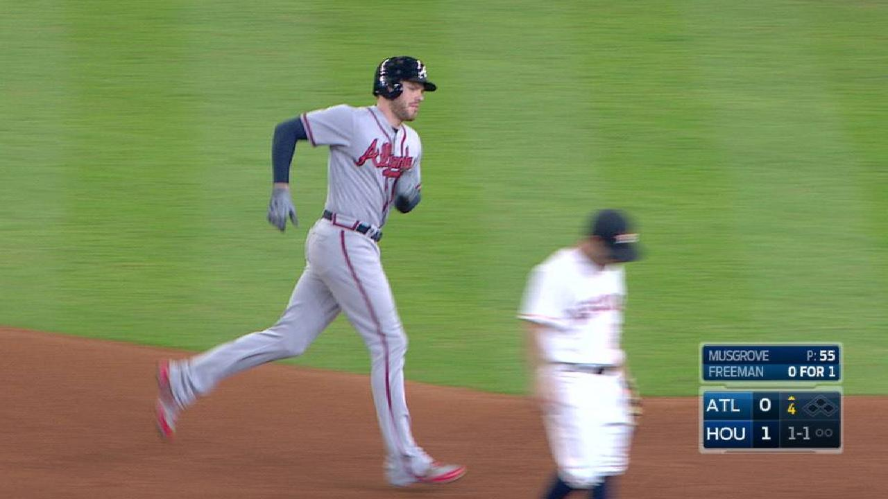 Lonely hugs: Another solo shot for Freeman