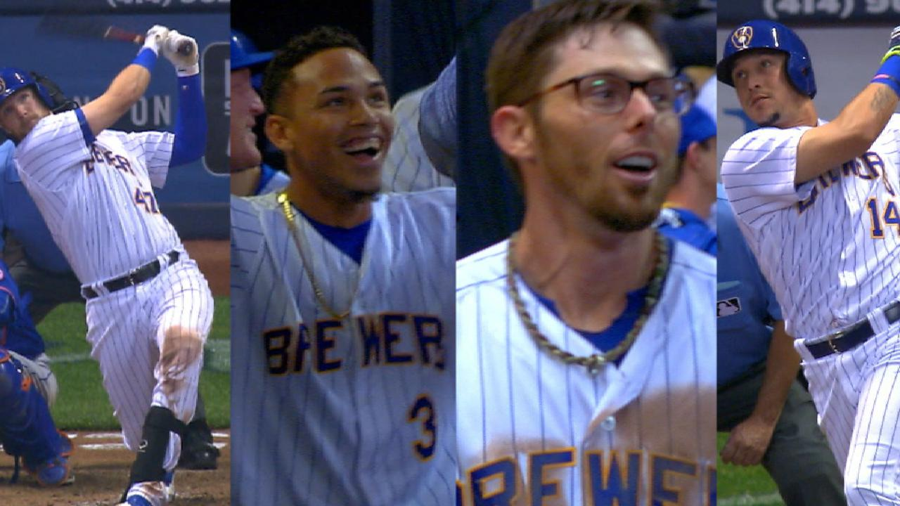 Brewers launch four homers