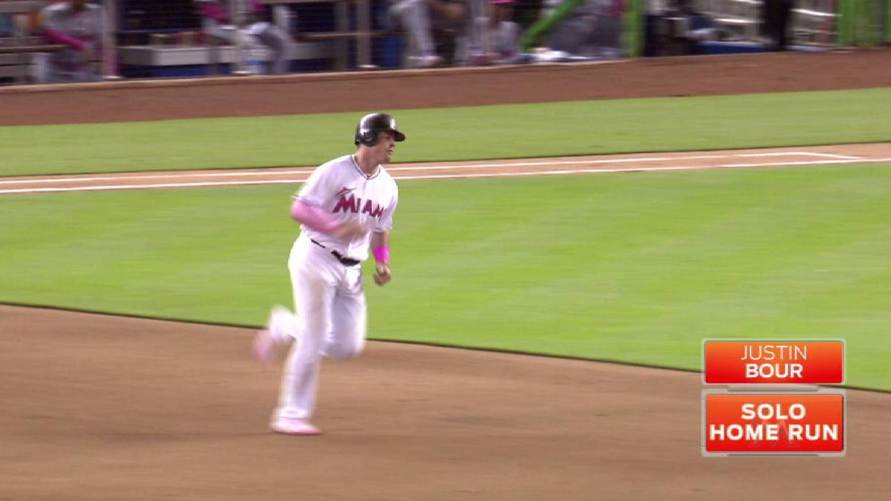 Bour's 3rd HR in 3 games is his 1st off LHP