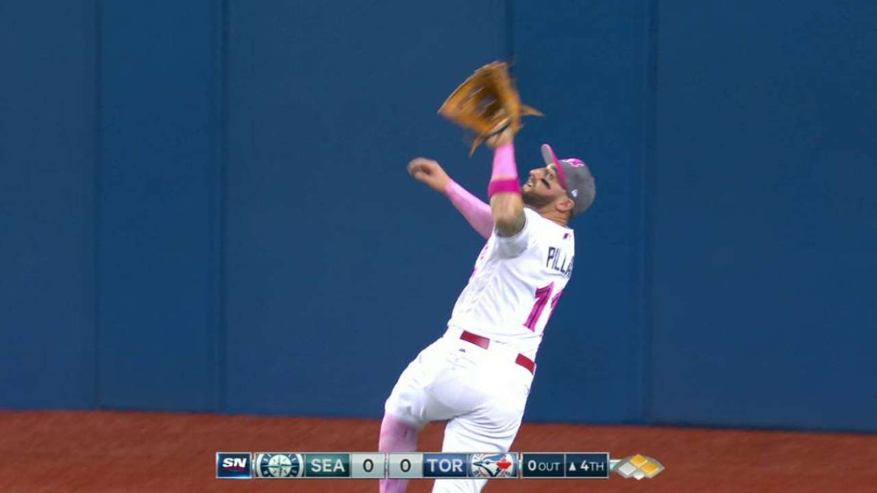 Pillar's great leaping catch